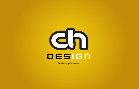 design of bold alphabet letter combination ch c h with white color and black contour on yellow background suitable for a company or business