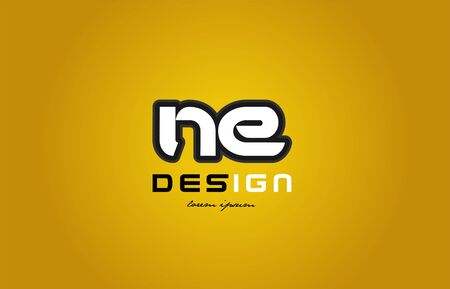 design of bold alphabet letter combination ne n e with white color and black contour on yellow background suitable for a company or business