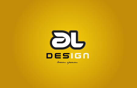 design of bold alphabet letter combination al a l with white color and black contour on yellow background suitable for a company or business