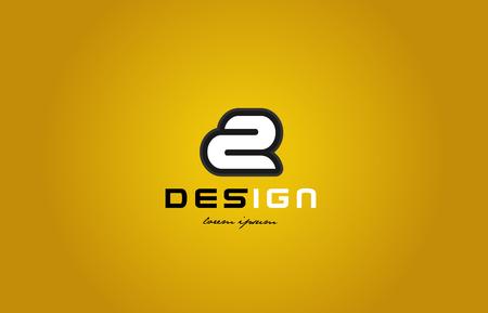 회사 또는 비즈니스에 적합한 노란색 배경에 흰색 색상과 검은 색 컨투어가있는 굵은 숫자 자리 숫자 2의 디자인 스톡 콘텐츠 - 87806557