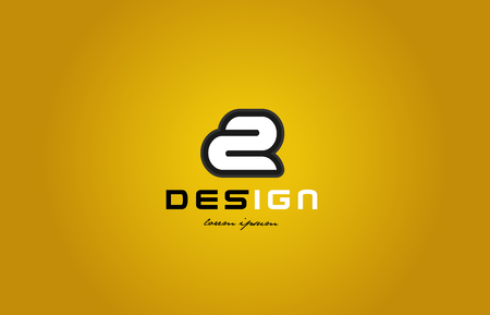 design of bold number numeral digit 2 with white color and black contour on yellow background suitable for a company or business Illustration