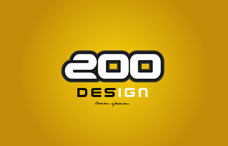 design of bold number numeral digit 200 with white color and black contour on yellow background suitable for a company or business Illustration