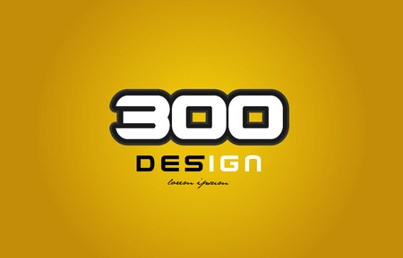 design of bold number numeral digit 300 with white color and black contour on yellow background suitable for a company or business