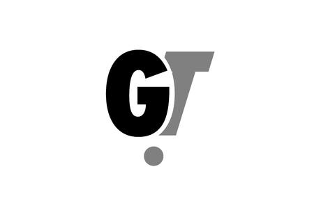 creatief logo pictogram combinatie van alfabet letter gt gt in zwart en grijs geïsoleerd op een witte achtergrond met eenvoudig en efficiënt ontwerp