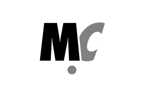 creative logo icon combination of alphabet letter mc m c in black and grey isolated on white background with simple efficient design
