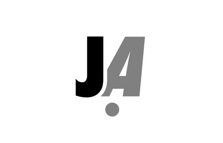 creative logo icon combination of alphabet letter ja j a in black and grey isolated on white background with simple efficient design Illustration