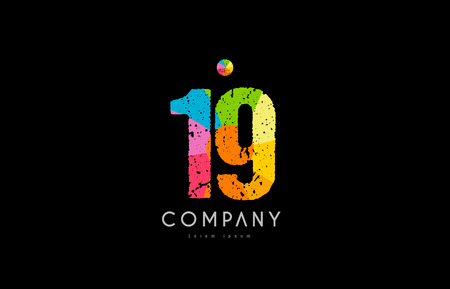 number 19 logo icon design with grunge texture and rainbow colored pattern