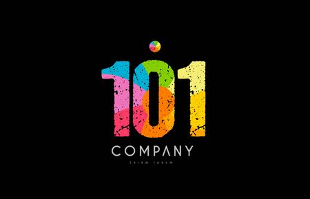 Number 101 logo icon design with grunge texture and rainbow colored pattern