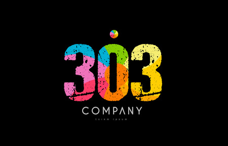 Number 303 logo icon design with grunge texture and rainbow colored pattern Illustration