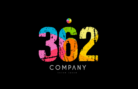Number 362 logo icon design with grunge texture and rainbow colored pattern
