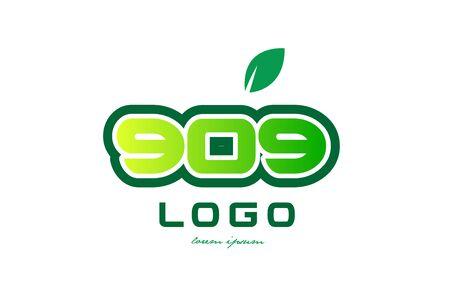 적합: Design of number numeral  digit 909 with green leaf and color suitable for a business or company. 일러스트