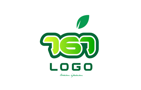 Design of number numeral  digit 767 with green leaf and color suitable for a business or company