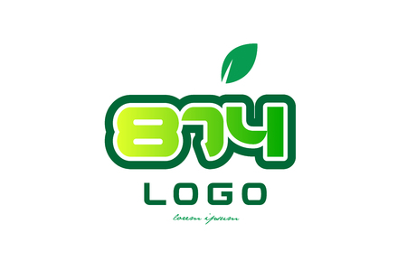 Design of number numeral  digit 874 with green leaf and color suitable for a business or company