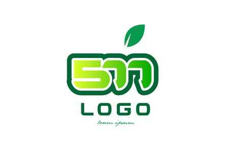 Design of number numeral  digit 577 with green leaf and color suitable for a business or company Illustration