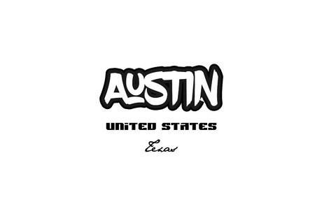 Typography design of Austin Texas city text word in the United States of America graffiti style. Vettoriali