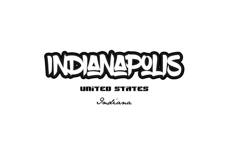Typography design of Indianapolis Indiana city text word in the United States of America graffiti style.