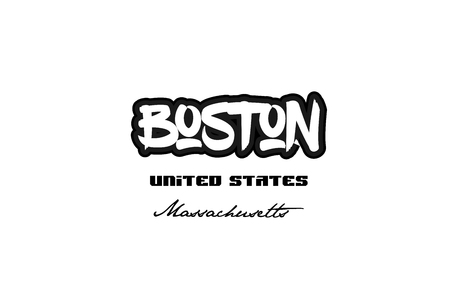 Typography design of Boston Massachusetts city text word in the United States of America graffiti style.