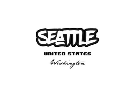 Typography design of Seattle Washington city text word in the United States of America graffiti style logo.