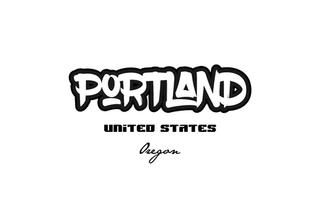 Typography design of Portland Oregon city text word in the United States of America graffiti style. Vettoriali