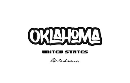 Typography design of Oklahoma city text word in the United States of America graffiti style. Vettoriali