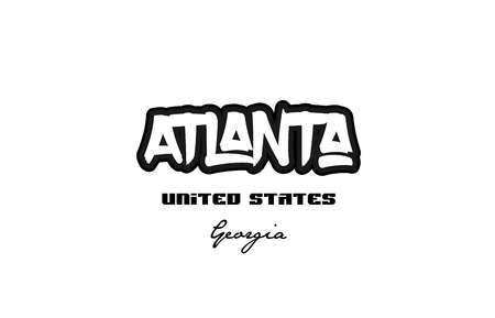 Typography design of Atlanta Georgia city text word in the United States of America graffiti style.