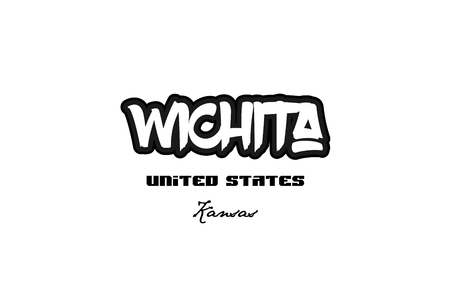 Typography design of Wichita Kansas city text word in the United States of America graffiti style.