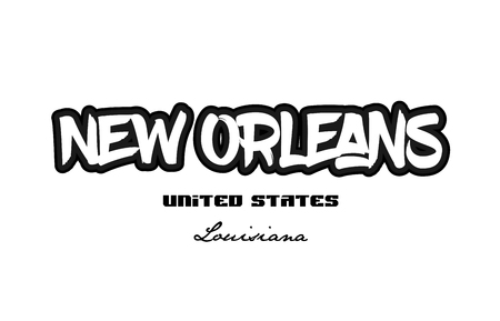 Typography design of New Orleans Louisiana city text word in the United States of America graffiti style.