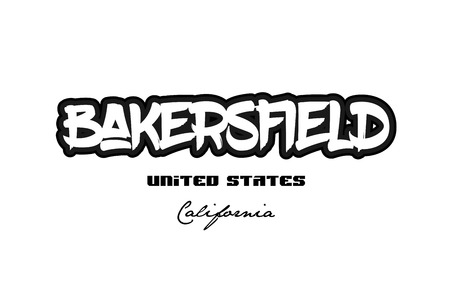 Typography design of Bakersfield California city text word in the United States of America graffiti style.