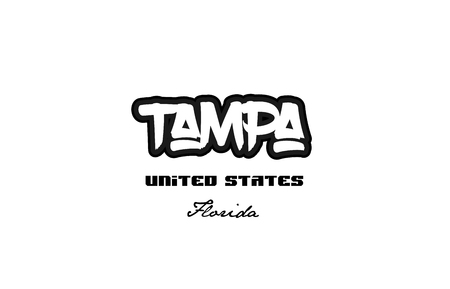 Typography design of Tampa city text word in the United States of America graffiti style.
