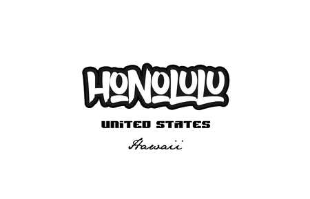 Typography design of Honolulu Hawaii city text word in the United States of America graffiti style.