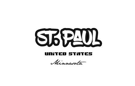 Typography design of St Paul Minnesota city text word in the United States of America graffiti style.