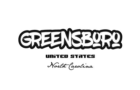 Typography design of Greensboro North Carolina city text word in the United States of America graffiti style.