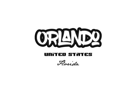 Typography design of Orlando city text word in the United States of America graffiti style.