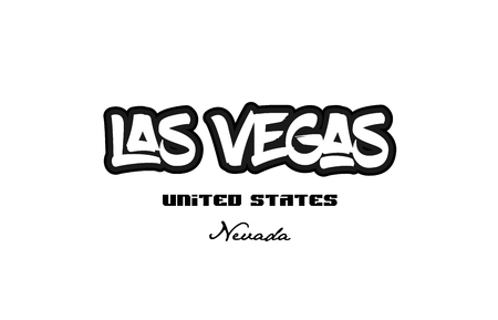 Typography design of las vegas nevada city text word in the United States of America graffitti style logo Vettoriali