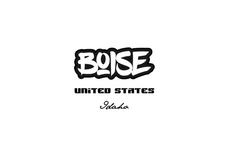 Typography design of boise idaho city text word in the United States of America graffitti style logo