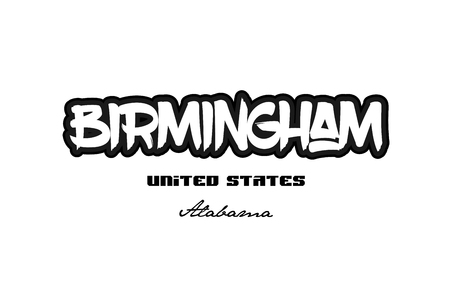 Typography design of birmingham alabama city text word in the United States of America graffitti style logo
