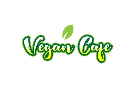 Calligraphy hand written green color vegan cafe word text font  and beautiful typography design with green leaf