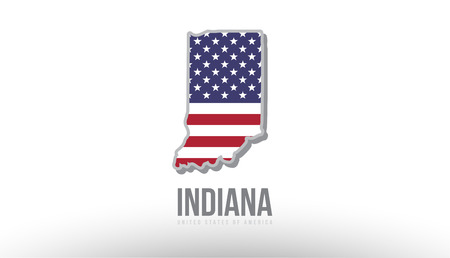 Vector illustration of Indiana county state with united states flag as a texture. Suitable for a map icon or design purposes.