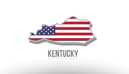 Vector illustration of Kentucky county state with united states flag as a texture. Suitable for a map icon or design purposes.