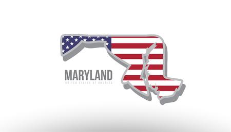 米国旗をテクスチャとして持つメリーランド州のベクトルイラスト。マップ アイコンまたはデザインの目的に適しています。