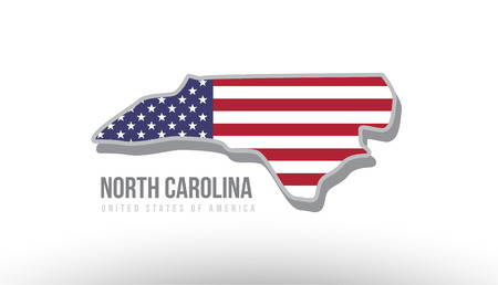 Vector illustration of North Carolina county state with united states flag as a texture. Suitable for a map icon or design purposes. Illustration