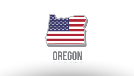 Vector illustration of Oregon county state with united states flag as a texture. Suitable for a map icon or design purposes.
