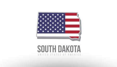マップロゴやデザイン目的に適したテクスチャとして米国合衆国フラグを持つサウスダコタ州のベクトルイラスト  イラスト・ベクター素材