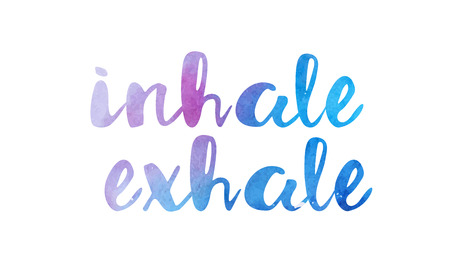 inhale exhale beautiful watercolor text word expression typography design suitable for a logo banner t shirt or positive quote inspiration design 版權商用圖片 - 91547811