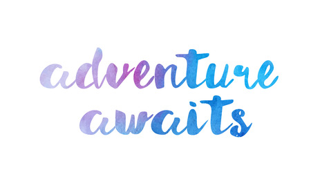 Adventure awaits beautiful watercolor text word expression typography design suitable for a logo banner t-shirt or positive quote inspiration design