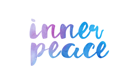 Paz interior bela texto em aquarela palavra expressão tipografia design adequado para um logotipo banner camiseta ou design de inspiração de citação positiva Foto de archivo - 91548061
