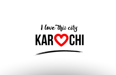 Beaituful typography design of city karachi name logo with red heart suitable for tourism or visit promotion Illustration