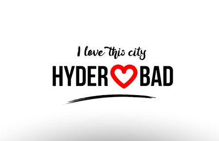 Beaituful typography design of city hyderabad name logo with red heart suitable for tourism or visit promotion