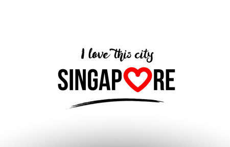 Beautiful typography design of city Singapore name icon with red heart suitable for tourism or visit promotion. 일러스트
