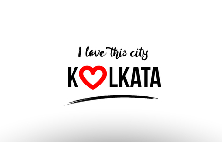 Beautiful typography design of city Kolkata name icon with red heart suitable for tourism or visit promotion.